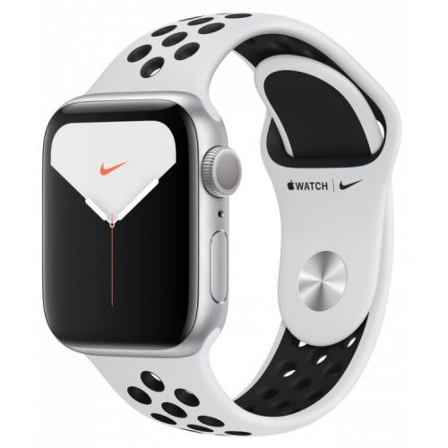 Apple Watch Series 5 44mm Silver Aluminum Case with Nike Sport Band (Pure Platinum/White)