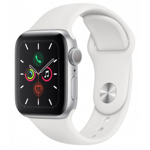 Apple Watch Series 5 44mm Silver Aluminum Case with Sport Band (White)