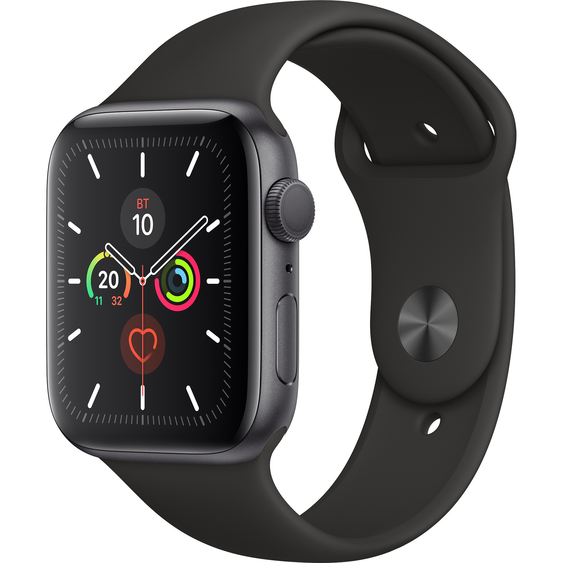 Apple Watch SE 44mm Space Gray Aluminum Case with Sport Band (Black)